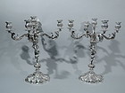 Pair of Sumptuous Silver 5-Light Cherub Candelabra