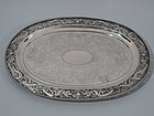 Chinese Export Silver Salver Tray with Dragons by Hung Chong