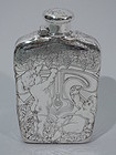 Antique Tiffany Sterling Silver Flask with Cherubs Picking Grapes