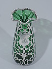 American Emerald Glass Vase with Silver Overlay C 1900