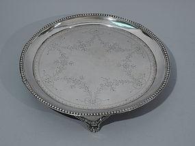 Antique European Neoclassical Silver Salver Tray C 1840