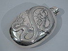 Chinese Export Silver Flask with Dragon C 1900