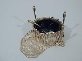 Unusual Wetlands Open Salt - Contemporary English Sterling Silver