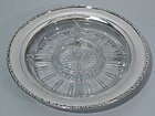 Stylish Sterling Silver & Cut Glass Appetizer Dish