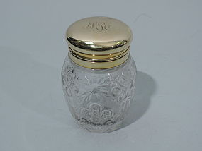 Aesthetic Cut Glass and 14K Gold Perfume Bottle by Gorham C 1890