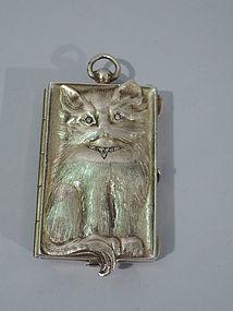 Mini Silver Gilt Cat Compact - Kitty Sitting Pretty
