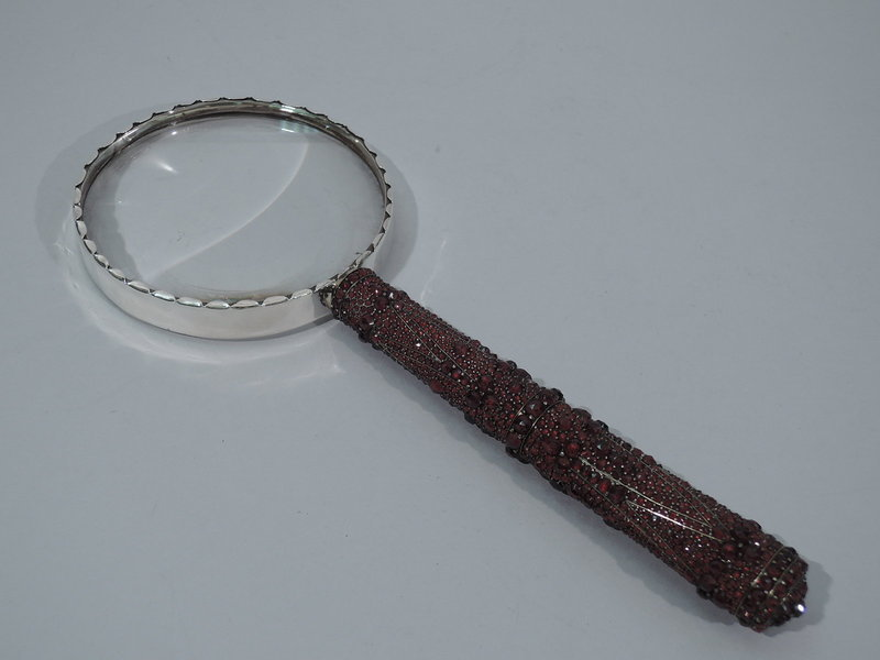 Sumptuous Magnifying Glass with Garnet-Encrusted Handle C 1920