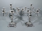 Pair of Tiffany Chrysanthemum 7-Light Sterling Silver Candelabra