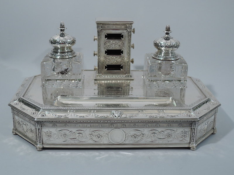Large Neoclassical Sterling Silver Double Inkwell on Stand by Gorham