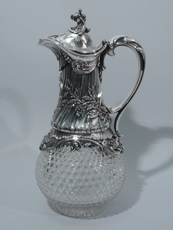 Antique Rococo Decanter in Silver and Cut Glass