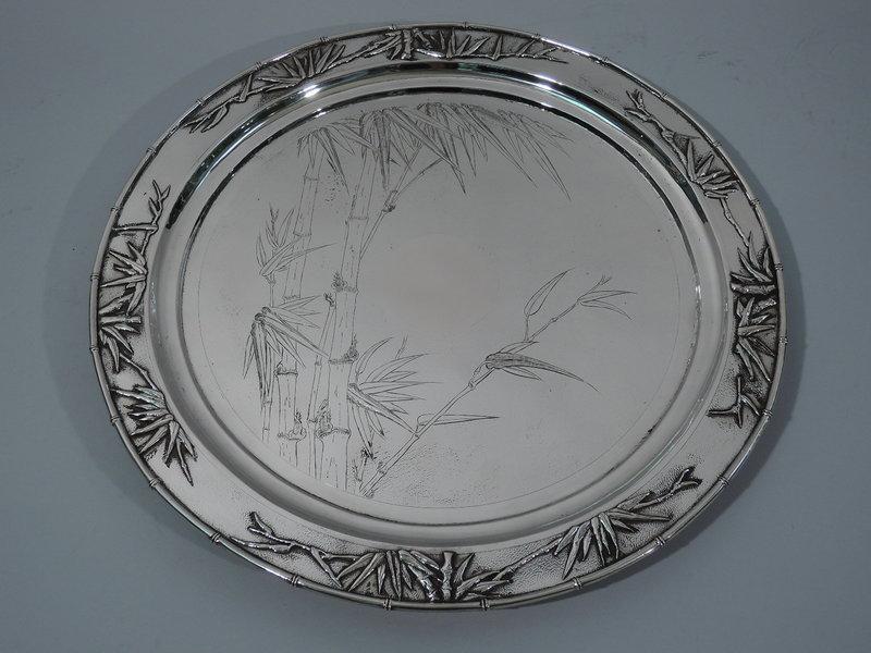 Chinese Export Silver Salver Tray with Bamboo by Zee Wo in Shanghai
