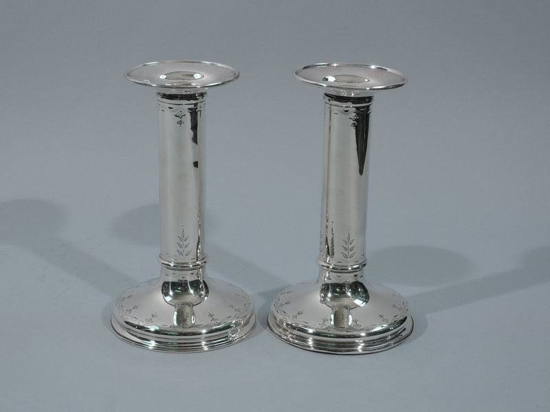 Pair of Pretty Sterling Silver Column Candlesticks by Tiffany