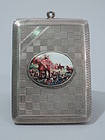 Hound & Horse - English Sterling Silver & Enamel Case with Foxhunt