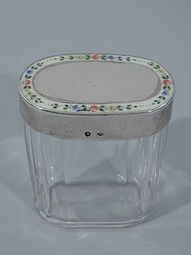 Austrian Silver and Enamel Vanity Jar with Pretty Flowers C 1920