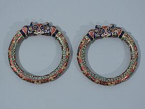 Pair of 22K Gold and Enamel Indian Bracelets - Jaipur C 1880