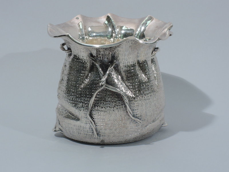 Unusual Italian Sterling Silver Sackcloth Sauceboat - Rustic Style