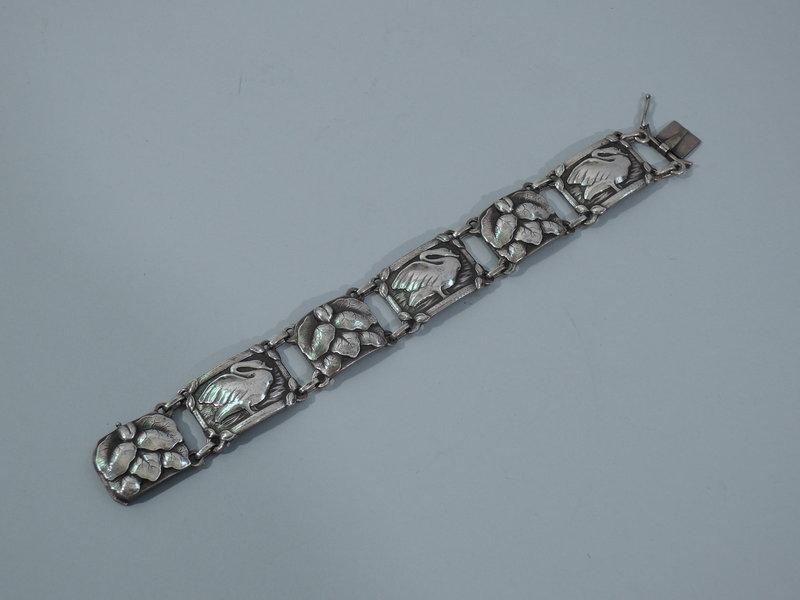 Early Georg Jensen No. 42 Sterling Silver Swan Bracelet C 1935