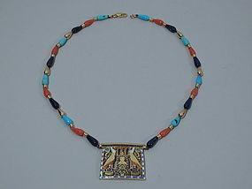 Egyptian Revival 15K Gold and Enamel Pendant C 1950