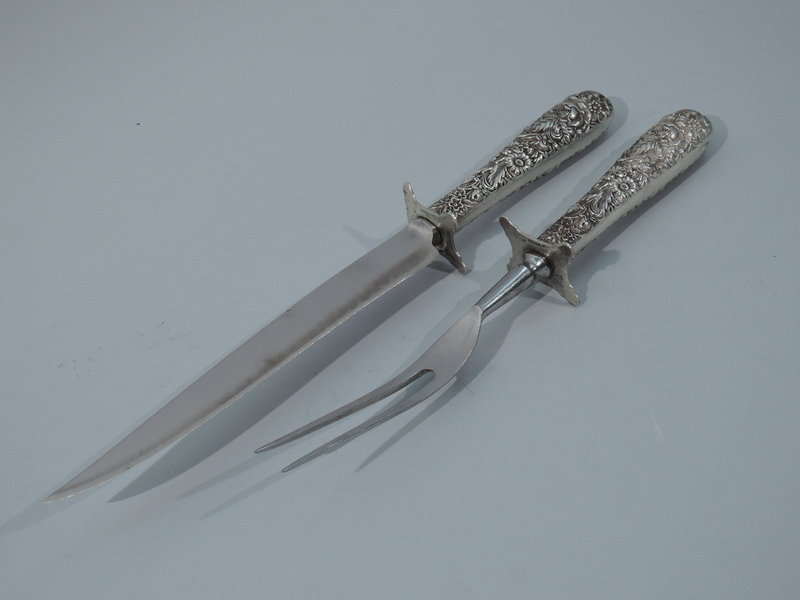 Kirk Carving Set - Baltimore Repousse Sterling Silver C 1890