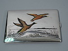 American Sterling Silver & Enamel Cigarette Case with Ducks