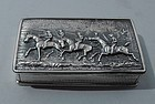 Early Victorian Sterling Silver Snuff Box with Polo Players 1840