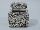 Antique Japanese Silver and Glass Inkwell C 1890