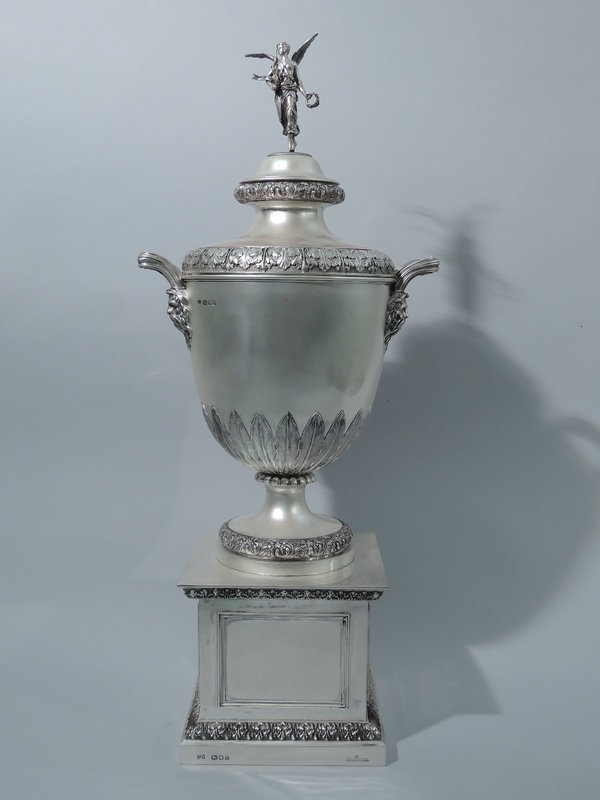 Magnificent Sterling Silver Trophy Cup on Pedestal by Garrard