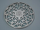 Art Nouveau Silver Overlay Trivet with Whiplash Pattern