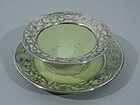 American Belleek Celadon Porcelain Silver Overlay Bowl on Stand C 1890