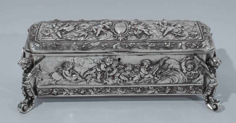 Sumptuous and Heavy German Silver Casket Box with Gamboling Cherubs