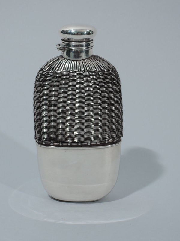 Gorham Sterling Silver Flask in Woven Cage - Lady's Size 1908