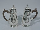 Pair of English Georgian Style Sterling Silver Cafe au Lait Pots 1931