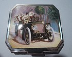 Motoring Days Cigarette Case - German Silver & Enamel C 1910