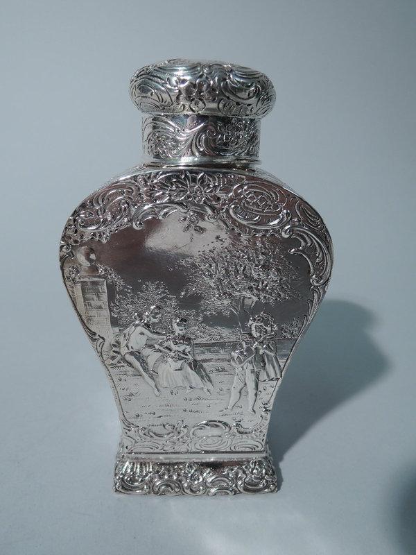 Antique German Rococo Silver Tea Caddy