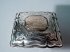 Antique Dutch Silver and Gold Box with Engraved Fruits & Flowers 1858