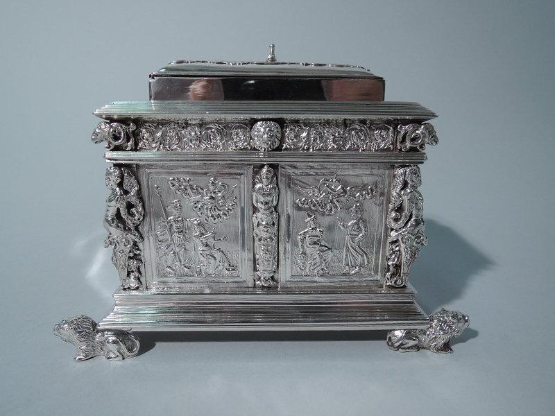 Fabulous Dutch Silver Tea Caddy - Sumptuous Neoclassical Armoire