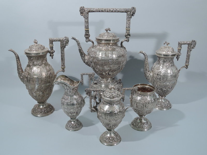 Magnificent Schofield Architectural Tea & Coffee Set in Large Chest
