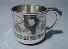 Antique Sterling Silver Baby Cup with Moral Message by William B Kerr