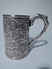 Large Antique Chinese Export Silver Mug