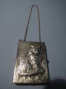 Antique Furry Feline - Pretty Kitty Cat Silver Gilt Compact