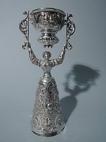 Antique German Silver Wedding Cup with Regal Lady