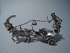 Antique German Rococo Silver Miniature Coach with Cherub