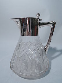 Antique German Silver and Cut Glass Decanter