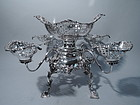 Antique Elegant English Sterling Silver Epergne by Thomas Bradbury