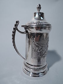 Italian Silver Covered Tankard with Mask and Flowers