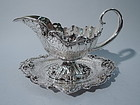Gilded Age New York Sterling Silver Gravy Boat on Stand by Redlich