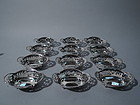 Set of 12 Tiffany Sterling Silver Nut Dishes C 1898