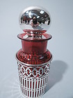 American Sterling Silver & Cranberry Red Glass Perfume Bottle