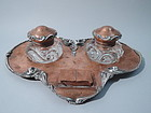 Craftsman Mixed Metal Double Inkwell - Hand Hammered Silver & Copper