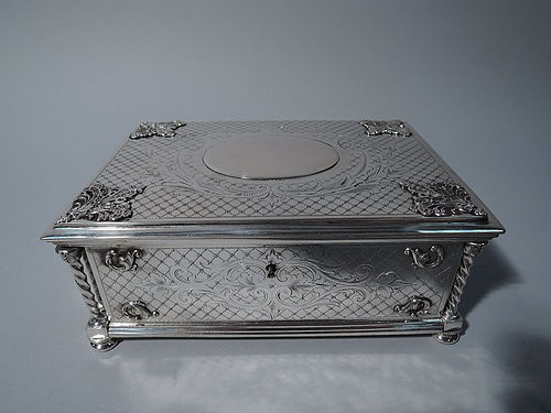 Antique Austrian Silver Casket Box - Heavy & Substantial C 1880